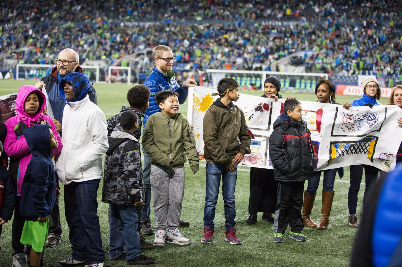 Yesler kids at Sounders game