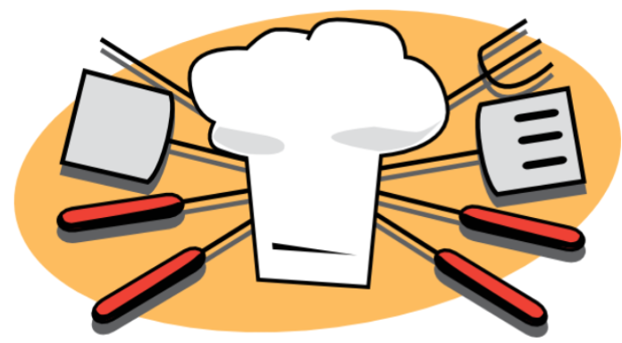 Barbecue utensils and chef hat