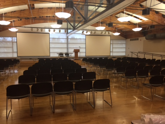 Large room with rows of chairs