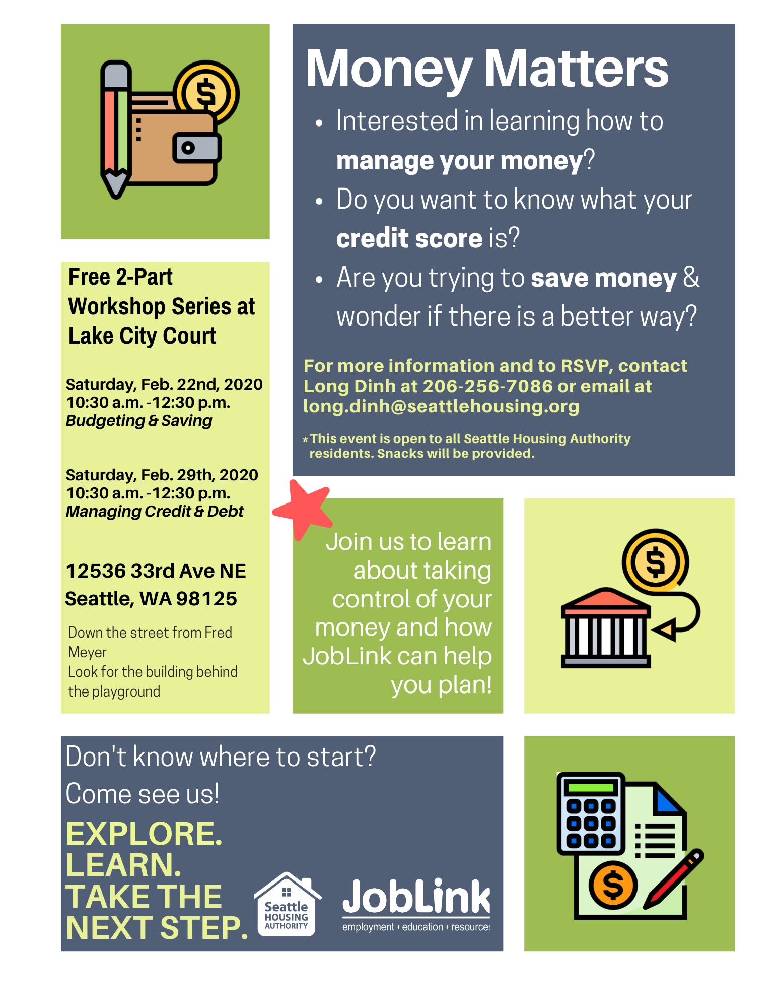 Money Matters workshop brochure