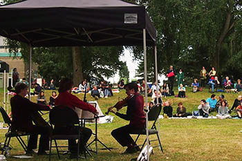 musicians performing on a park lawn
