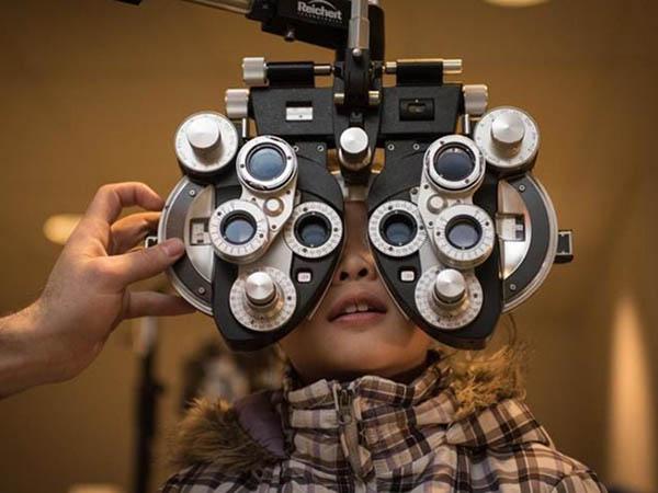 Woman getting eye test
