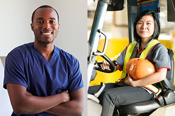 nurse in scrubs and forklift operator