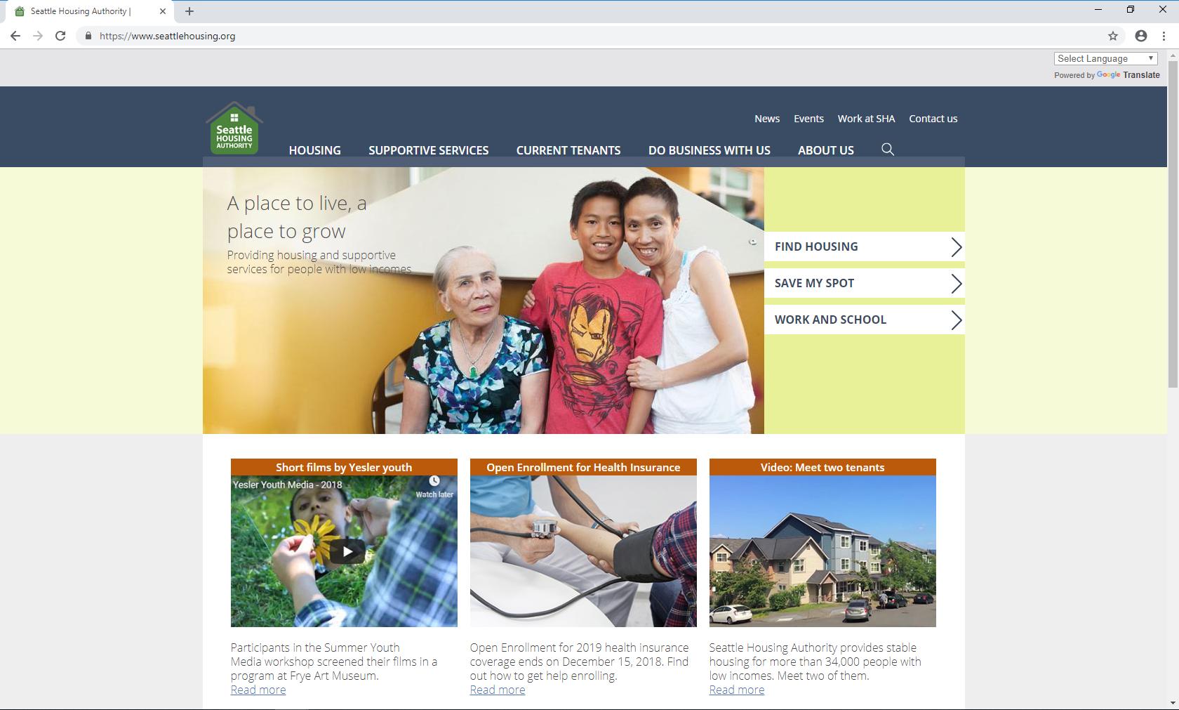 Screenshot of seattlehousing.org home page in English