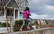 child running on a wall