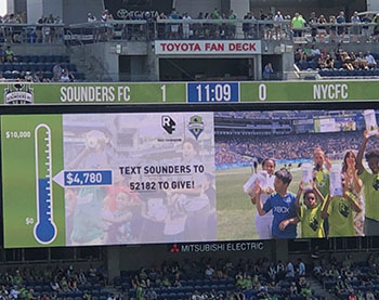 Video Board at Sounders FC game